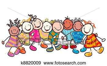 Kids playing fotosearch search vector clipart drawings