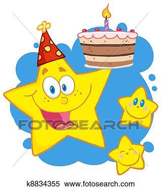 Arquivos de Ilustração - feliz, estrela,  segurando, aniversário,  bolo. fotosearch  - busca de imagens  de vetor grã¡fico,  desenhos, clip  art, ilustraã§ãµes