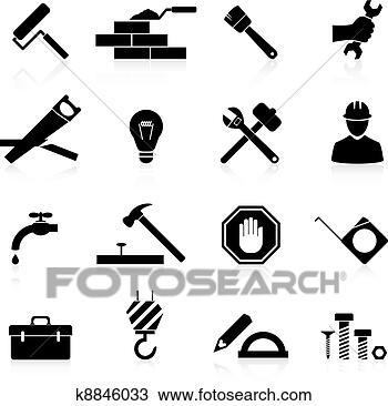 手绘图 - 图标, 建设,