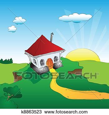 手绘图 - 房子, 悬崖