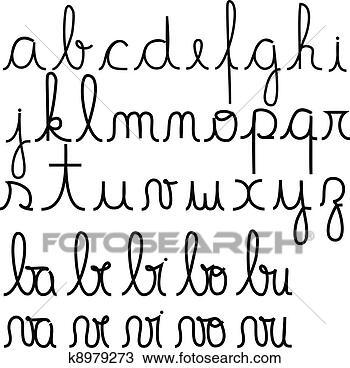 手绘图 - 草写, 字母表