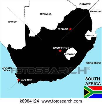绘画/画画 - 南非, 地图