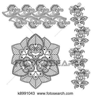 手绘图 - mehndi, 花