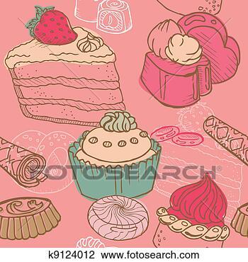 Clip art - seamless, fondo, con, torte, dolci, e, dessert, -, in