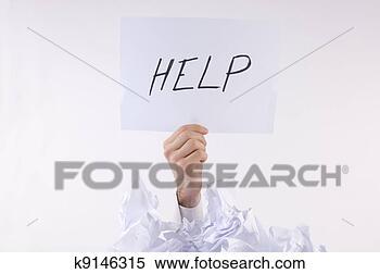 Banco de Imagem - homem negócios,  oprimido, papel,  pergunta, ajuda.  fotosearch - busca  de fotos, imagens  e clipart
