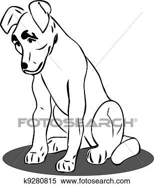 狗黑白素材