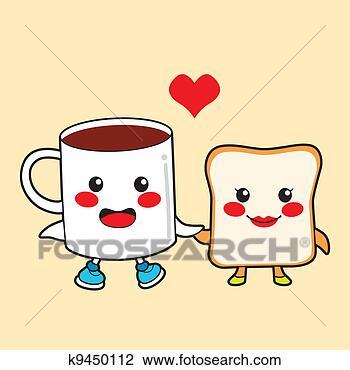 卡通, 字, 夫妇, 早餐