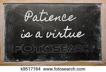 Banco de Imagem - expressão, paciência,  virtude, escrito,  escola, blackbo.  fotosearch - busca  de fotos, imagens  e clipart