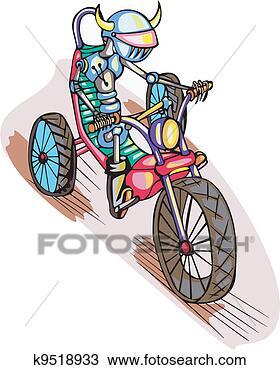 手绘图 - 机器人, 自行车