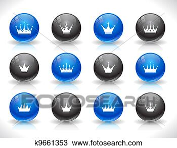 手绘图 - 按钮, 网, 王冠