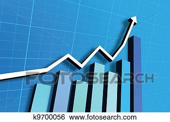 条形图, 上升, 上, 蓝色的背景