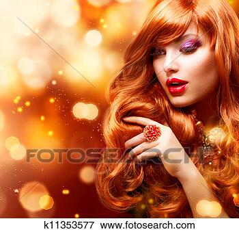 Foto - dourado, moda,  menina, retrato,  ondulado, vermelho,  cabelo. fotosearch  - busca de fotos,  imagens e clipart