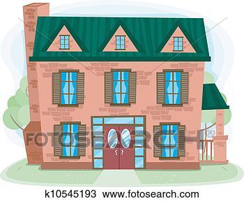 手绘图 - 砖房子