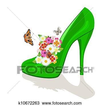 手绘图 - 鞋子, 花, 同时