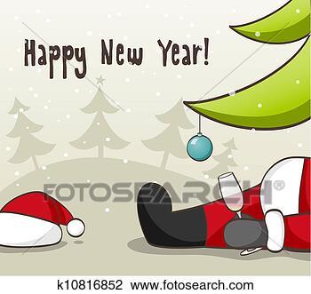 剪贴画 - 喝醉, 圣诞老人
