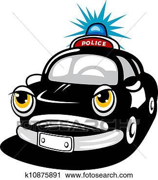 警车 追犯人 卡通