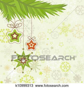 手绘图 - 圣诞树, 星,