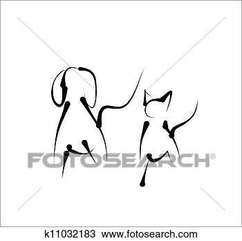 手绘图 - 猫, 狗, 简单