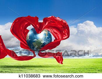 手绘图 - 地球, 心, 图标