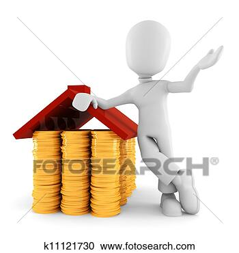 Stock Illustration - 3d man saving money, on white background. Fotosearch - Search Clipart, Illustration Posters, Drawings and Vector EPS Graphics Images