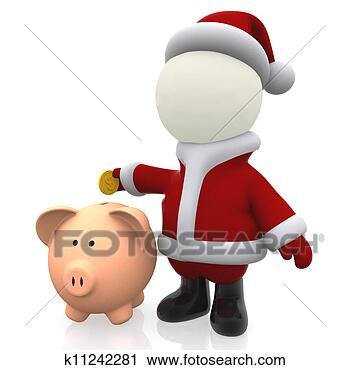 剪贴画 - 3d, 圣诞老人