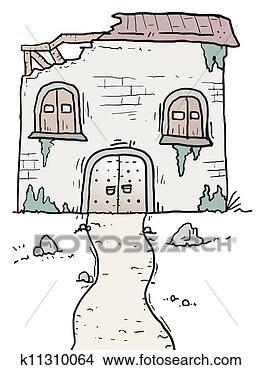 手绘图 - 老, 房子