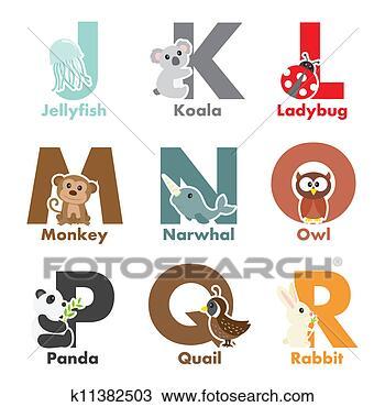 手绘图 - 字母表, 动物