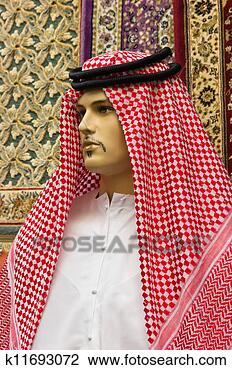图吧 - 传统, 阿拉伯, 人` s, 衣服, 在上, a, 人体模