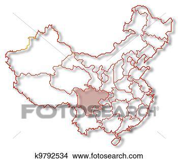 地图, .的, 中国