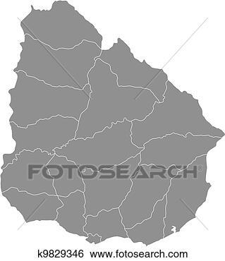 南美洲乌拉圭地图