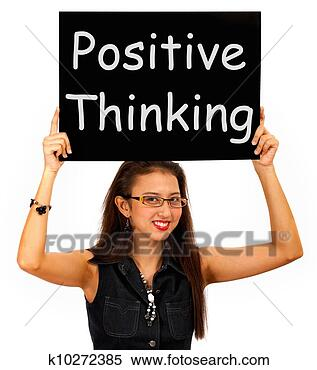 Banco de Imagem - positivo, pensando,  sinal, mostra,  otimismo, ou,  convicção. fotosearch  - busca de fotos,  imagens e clipart