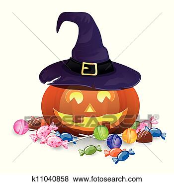 Stock Illustration - vector halloween  pumpkin with candies.  fotosearch - search  clipart, illustration  posters, drawings  and vector eps  graphics images