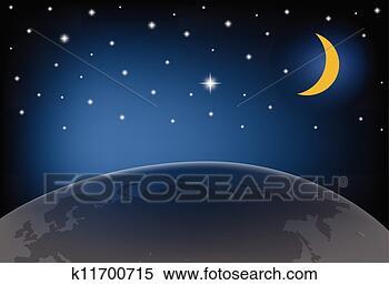 夜晚天空, 带, 月亮