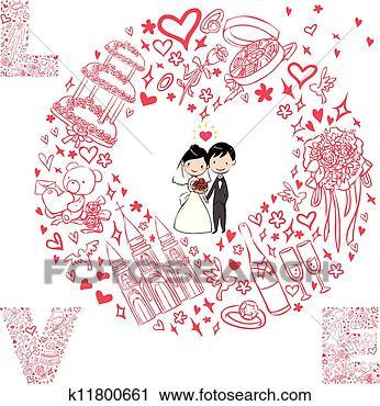 剪贴画 - 婚礼, 卡片,