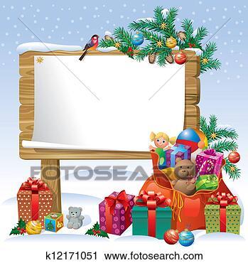 剪贴画 - 圣诞节, 木制