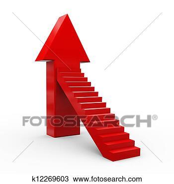 手绘图 - 3d, 箭, 楼梯