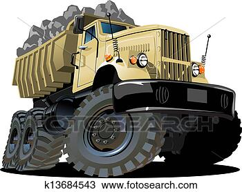 Cartoon dump truck isolated on white background available eps 10