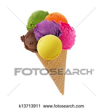 Arquivo de Fotografia - gelo, creme, conchas,  cone. fotosearch  - busca de fotos,  imagens e clipart