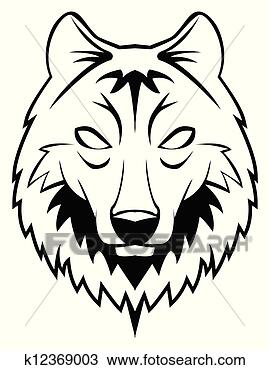 手绘图 - 狼, 头