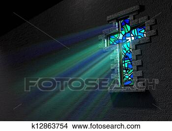 Stock Photo - Stained Glass Window Crucifix. Fotosearch - Search Stock Images, Mural Photographs, Pictures, and Clipart Photos