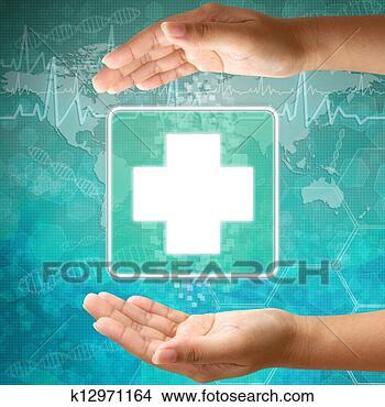 Banco de Imagem - médico, ícone, primeiro, ajuda, mão. Fotosearch - Busca de Imagens, Fotografias Mural, Fotos Clipart