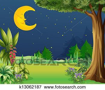 夜晚月亮睡觉图片