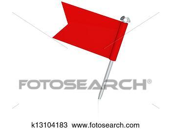 手绘图 - 红旗, 别针