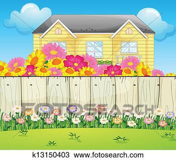 手绘图 - a, 房子, 包围