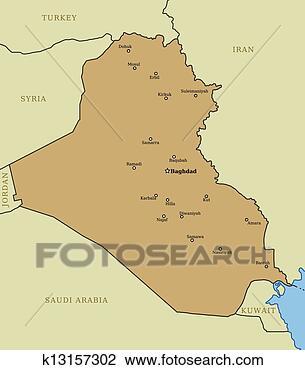 伊拉克, 地图, 带, 主要