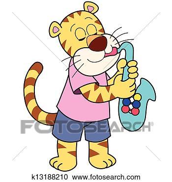 图解或插画-卡通漫画,Tiger,玩,a,萨克斯管k漫画少女a插画图片