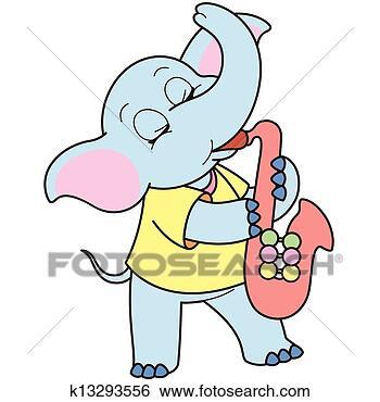 失量图库-卡通漫画,象,玩,a,萨克斯管k1329火影忍者667漫画图片