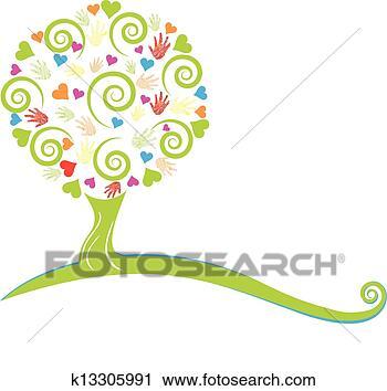 手指画大树框分享展示图片