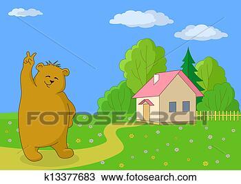 手绘图 - 玩具熊, 对,