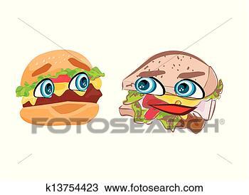 手绘图 - 汉堡包, 漂亮